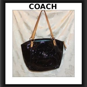 COACH LEAH BLACK EMBOSSED PATENT LEATHER TOTE